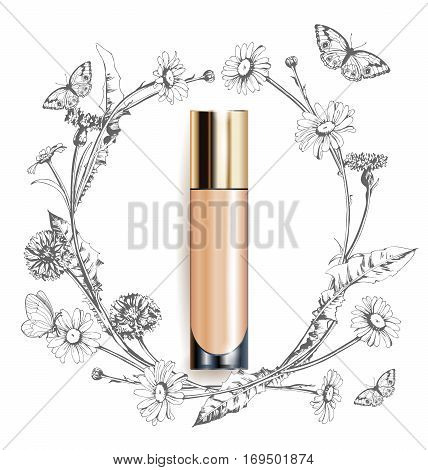 Beige realistic tube mock-up for cream dispenser lotion gel medicine cream tone cream ointment concealer salve. Cosmetic vial. A wreath of painted herbs and flowers background.Template Vector.