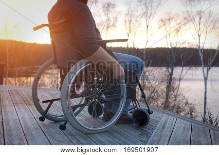 Disabled man looking forward