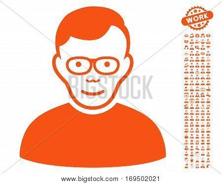 Pensioner pictograph with bonus men symbols. Vector illustration style is flat iconic orange symbols on white background.