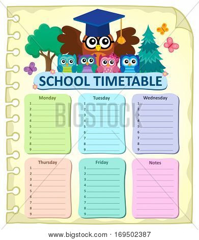 Weekly school timetable subject 7 - eps10 vector illustration.