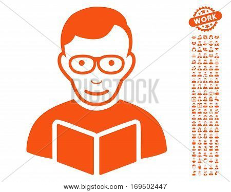Reader icon with bonus human pictograms. Vector illustration style is flat iconic orange symbols on white background.