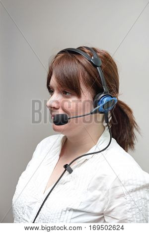 Pick by Voice Wired Headset Woman Worker