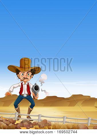 Cowboy shooting a gun