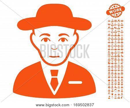 Secret Service Agent icon with bonus avatar design elements. Vector illustration style is flat iconic orange symbols on white background.