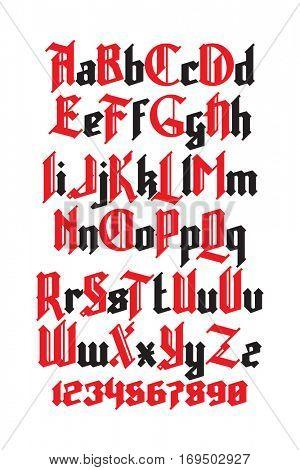 New modern custom gothic font. Full alphabet set with digits