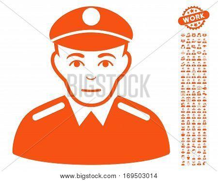 Soldier pictograph with bonus men pictograms. Vector illustration style is flat iconic orange symbols on white background.
