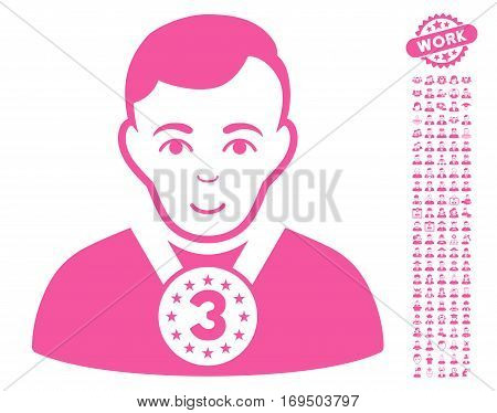 3rd Prizer Sportsman icon with bonus avatar clip art. Vector illustration style is flat iconic pink symbols on white background.