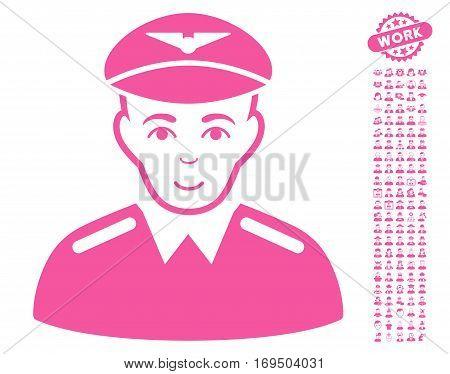 Aviator pictograph with bonus avatar design elements. Vector illustration style is flat iconic pink symbols on white background.