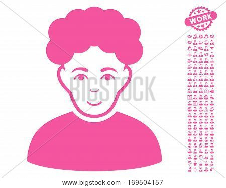 Brunet Man icon with bonus people pictures. Vector illustration style is flat iconic pink symbols on white background.