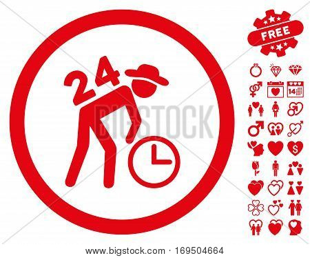 Around The Clock Work pictograph with bonus valentine icon set. Vector illustration style is flat rounded iconic red symbols on white background.