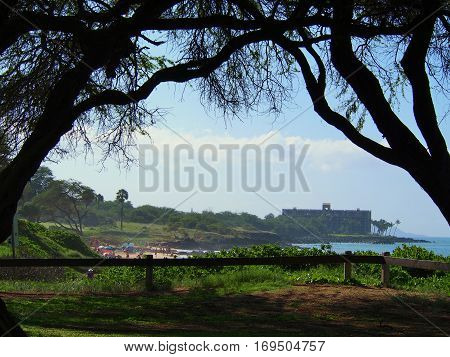 ocean coastline view on the island of Maui Hawaii