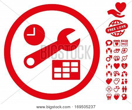 Date And Time Setup pictograph with bonus decoration pictograph collection. Vector illustration style is flat rounded iconic red symbols on white background.
