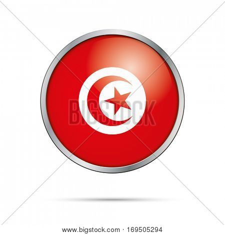 Vector Tunisian flag Button. Tunisia flag glass button style with metal frame.