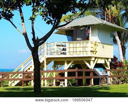 beach lifeguard lookout station on the island of Maui Hawaii
