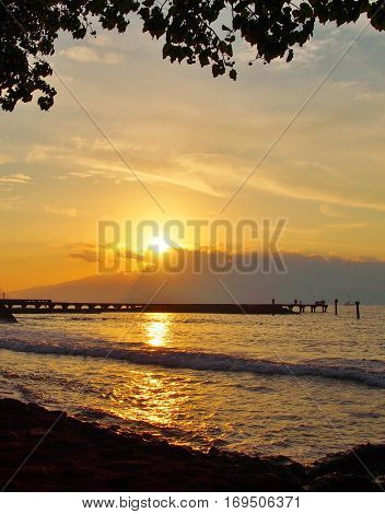 evening sunset at the Lahaina Harbor on Maui Hawaii
