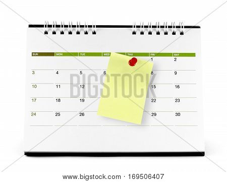 close-up yellow paper note with red pushpin on the calendar page isolated on white background, reminder note for business appointments