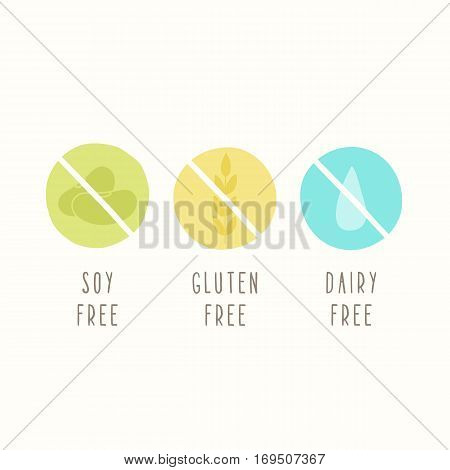 Soy, gluten, dairy free. Set of signs. Can be used for packaging design. Vector illustration