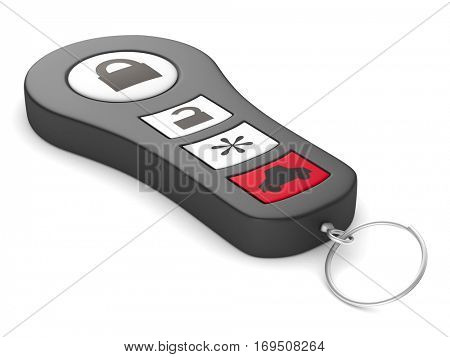 Automobile alarm system on white background. Isolated 3D image