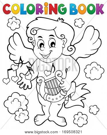 Coloring book with Cupid 7 - eps10 vector illustration.