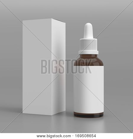 Dropper bottle with a box, isolated on gray background, 3D rendering