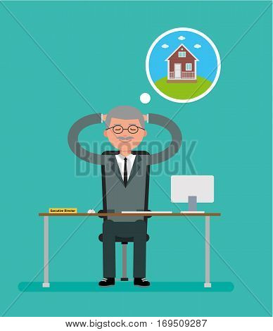 General Director sits at a Desk and dreams about the house. Cartoon vector flat-style illustration.