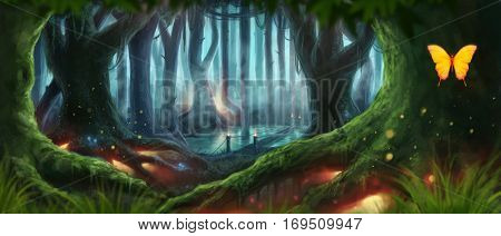 Magic Night Dream Fantasy Forest Illustration rasterized
