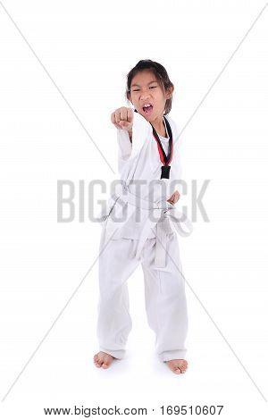 Happy Asian taekwondo girl on with background.