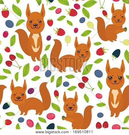seamless pattern with red squirrel Cherry Strawberry Raspberry Blueberry Cranberry Cowberry Goji Grape isolated on white background. Vector illustration