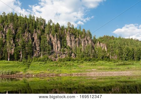 Big river of Eastern Siberia. Tunguska. Krasnoyarsk region.