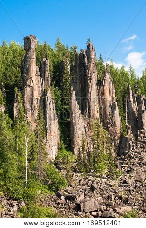 Around only rocks. Beautiful Siberian rivers. Krasnoyarsk territory.