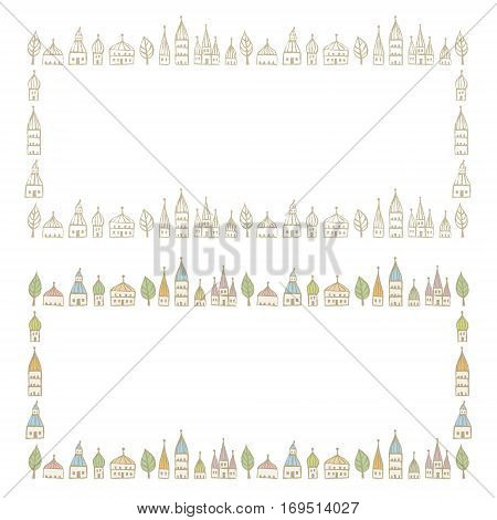 Decorated frames with pointed roofed houses in soft colors