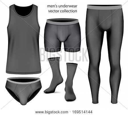 Underwear collection for men: boxer briefs, singlet and another clothes. Vector illustration of underwear clothes. Fully editable handmade mesh.