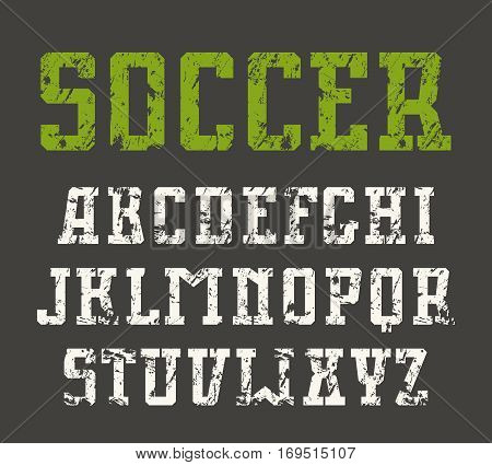 Slab serif font in urban style with shabby texture. Isolated on black background