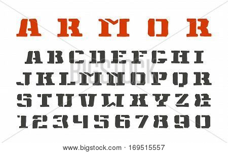 Stencil-plate serif font and numerals in the style of hand-drawn graphics. Isolated on white background
