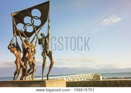 Lausanne, Switzerland - September 6: modern sculpture in front of the Olympic museum, on the shore of Lake Leman in Lausanne, Switzerland on September 6, 2016