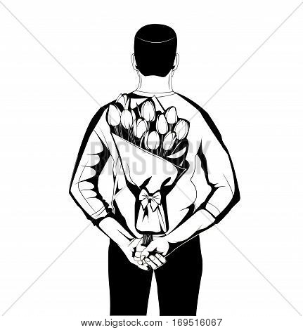 Man hiding bouquet of flowers behind his back. Vector illustration isolated on white background