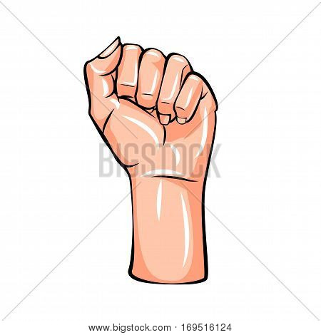 Female Fist. Women Rights. Girl Power. Vector Illustration Isolated