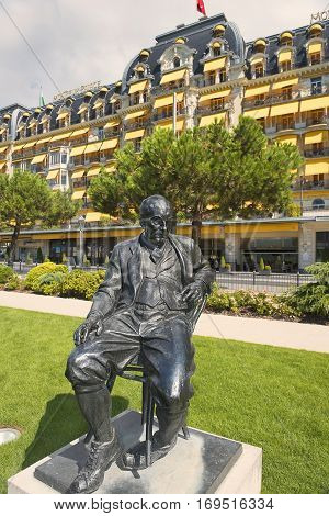 MONTREUX,SWITZERLAND-September 6: bronze statue of Vladimir Nabokov ,russian-american novelist, author of famous Lolita in the gardens of the Montreux Palace hotel in Montreux, Switzerland on September 6, 2016