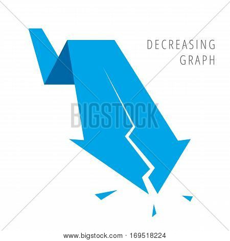 Decreasing graph concept. Blue arrow depict recession business. Flat illustration of broken fallof arrow as an element for infographic article background for internet publish social networks.