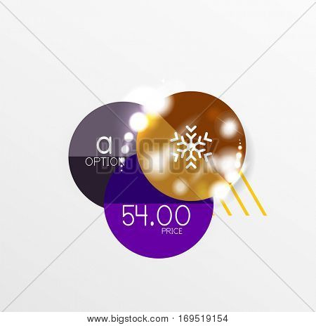 Christmas label or price tag stickers with light effects