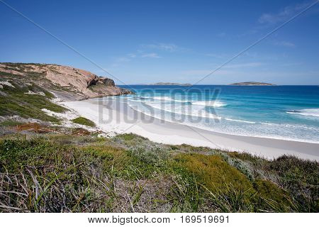 West Beach, Esperance, in the south of Western Australia, is a beautiful, picturesque beach with white sand and azure blue water. - Australian landscapes.
