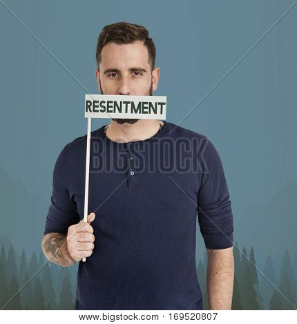 Adult Male Resentment Unhappy Concept