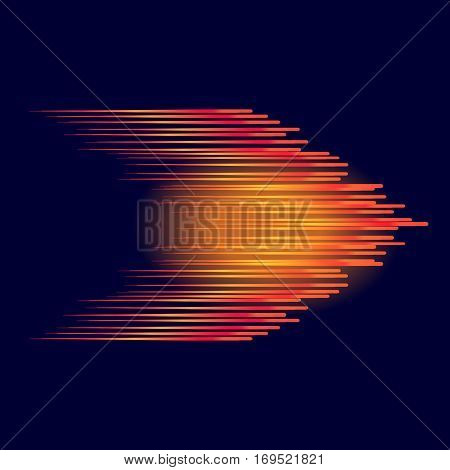 Red abstract arrow. Red arrow on dark background. Abstract background the speed. Vector Line and speed.