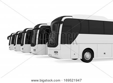 Tourist Buses isolated on white background. 3D render