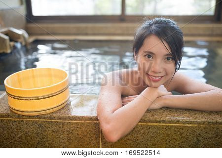 Young Woman enjoy onsen
