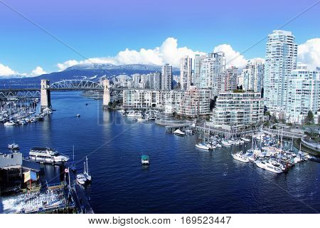 View of false creek and the Burrard street bridge in Vancouver, Canada.