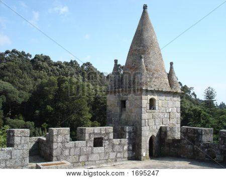 Sentry-box in the medieval castle of Santa Maria da Feira Portugal. poster