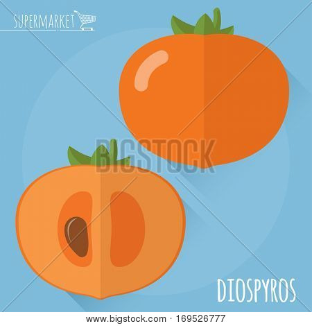 Flat design juicy fresh fruits icon vector template. Raw diospyros