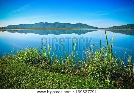 Landscape Of Reservoir And Mountain In Nakhon Nayok, Thailand