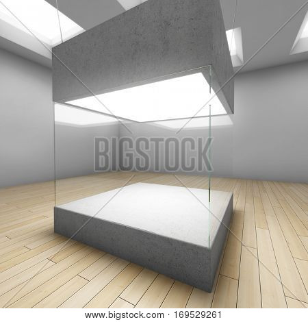 Empty glass box in art gallery. 3D illustration.